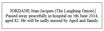 J-J Jordane death notice