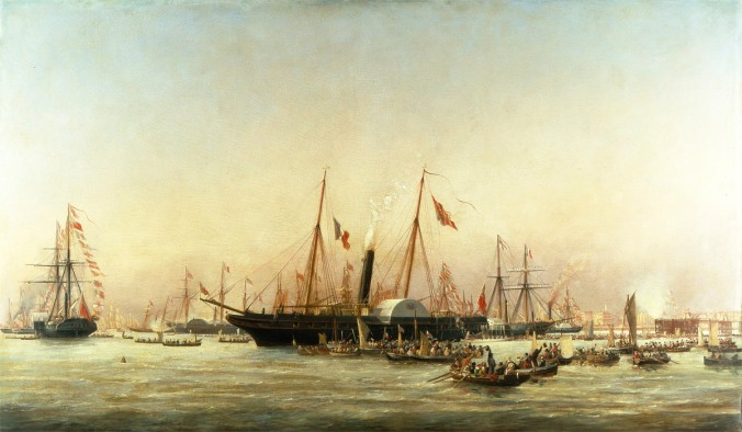 Queen Victoria landing at Brighton. Oil painting by Richard Henry Nibbs, c1843