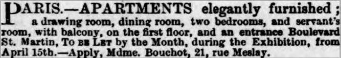 To let 4 April 1867 Gazette